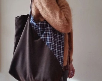 Shopping bag large dark brown with leather straps. Large fabric bag.