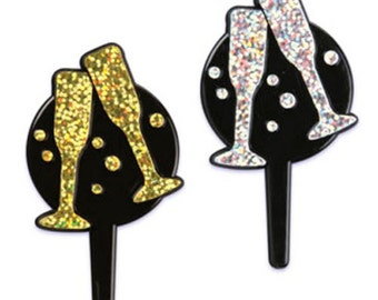 24 Toasting Glass Cupcake Picks Glasses New Year's Cake Toppers Decorations Wedding New Year