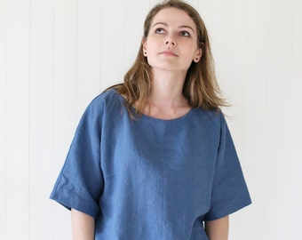 Japanese style linen blouse with kimono sleeves. Washed soft linen top. Women's linen blouse.