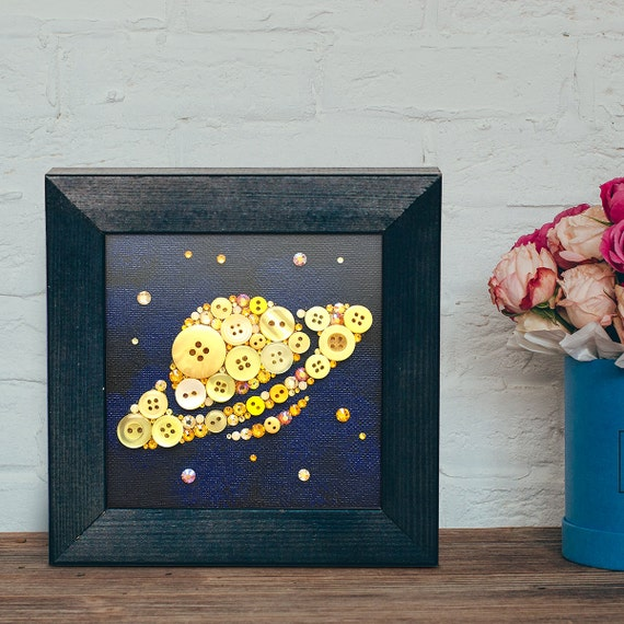 Saturn and stars button art small wall art 4x4 stars and for Decoration 4x4