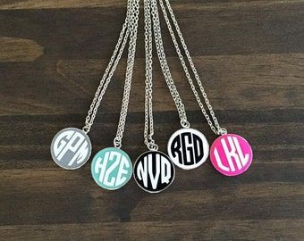 Monogrammed Round Enamel Disc Necklace-Silver Chain