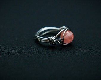 Cherry Quartz Wire Wrap Ring