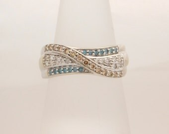 0.50 Carat T.W. Ladies Multi-Color Diamond Band 10K
