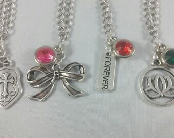 RWBY Inspired Mini Jewel & Charm Necklaces / Team JNPR - Jaune, Nora, Pyrrha, and Ren