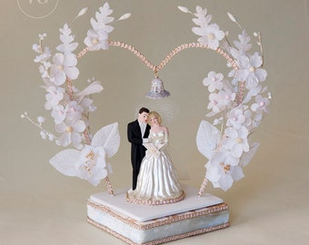 Vintage 1950's Wedding Cake Topper with Heart Shaped Arch, Tiny Wedding Bell, Loving Couple and Heart