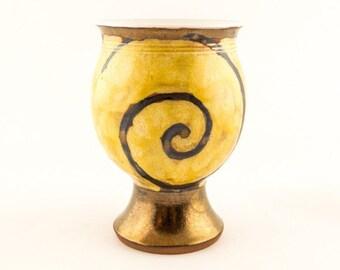 Gold Ceramic Wine Goblet, Stoneware Wine goblet, pottery wine goblet, Ceramics and pottery, ceramic wine glasses M