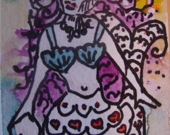 Mermaid ACEO Painting, Mermaid miniature painting,aceo miniature art painting, mermaid watercolour, artist trading card, Australian
