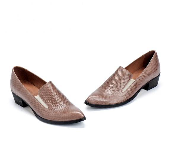 Taupe Leather Shoes / Women Shoes / Every Day Loafers / Snake Skin Texture Leather Shoes / Comfortable Shoes / Wooden Heels Shoes - Lexie