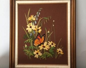 Vintage Crewel Framed Large Butterfly Monarch Art