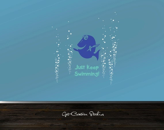 Dory decal finding dory decal blue tang by getcreativestudios for Finding dory wall decals