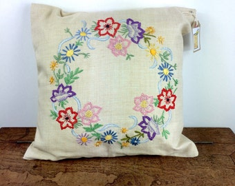 Vintage hand embroidered cushion/pillow