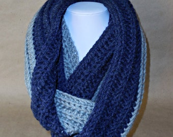 Two-Toned Ribbed Infinity Scarf