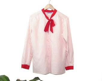 Candy Cane 70s Button Up Blouse (Small-XLarge) - FREE DOMESTIC SHIPPING