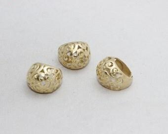 1 Pcs Raw Brass Flower Rings, 18mm Adjustable Ring, Brass Adjustable Ring , LA49