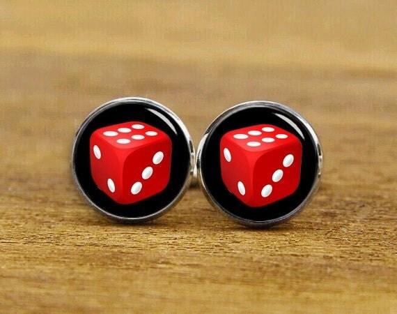 Red Dice Cuff Links, Dice Cufflinks, Personalized Cufflinks, Casino Dice, Custom Lucky Dice Cufflinks, Round, Square Cufflinks, Tie Clips