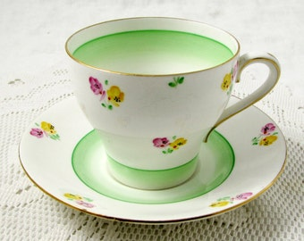 Vintage Bell China Tea Cup and Saucer with Green Center and Flowers, English Bone China
