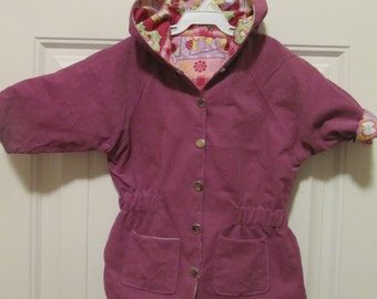 Handmade Adorable Owl Print and Purple Corduroy Infants Jacket and Pants - 12 months size