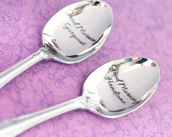 Engraved Spoons - Good Morning Handsome - Good Morning Gorgeous - Spoon Set - Couples Gifts - Valentine's Day - Anniversary