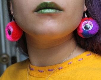 Multi Color Pom-Pom Monster Earrings