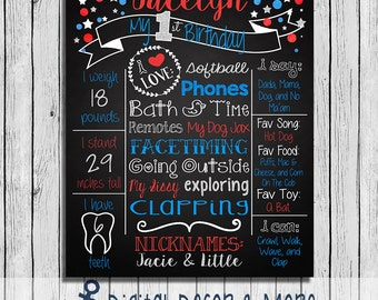 1st Birthday Patriotic 4th of July Themed Birthday Chalkboard Style Poster | Red, White & Blue | Chalkboard Printable | Digital File