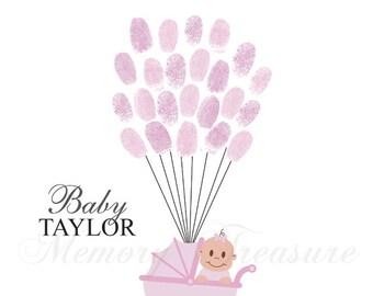 Girl Baby Shower Guest Book Alternative Baby Shower Thumbprint Guestbook Baby Shower Fingerprint Guestbook Girl Baby Shower Pink Baby Shower