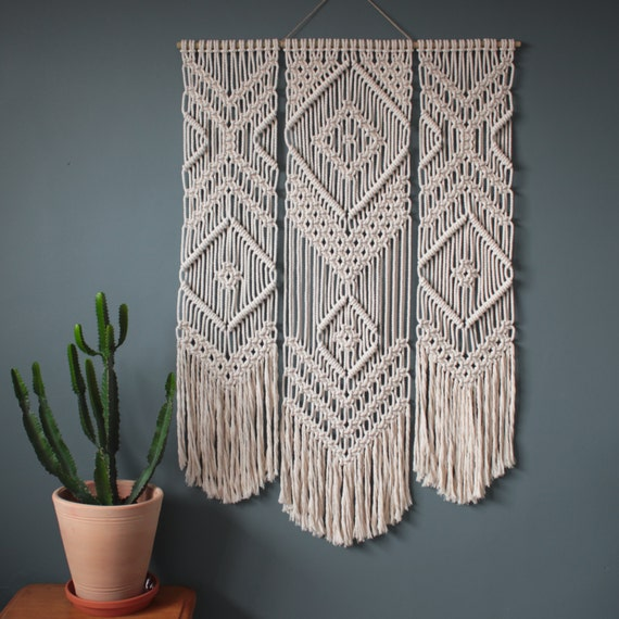 Macrame Wall Hanging Trio 100 Cotton Cord In
