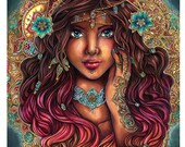 Art PRINT Photo paper The Seer - Beautiful gypsy portrait indian pattern, turquoise, gold design, flowers, baroque background by sakuems