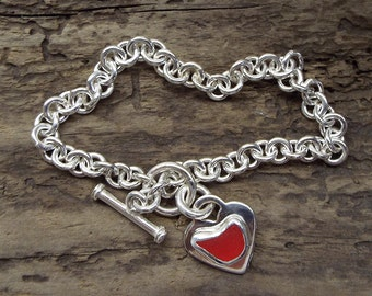 English Red Sea Glass Heart Charm & Sterling Silver Vintage Bracelet