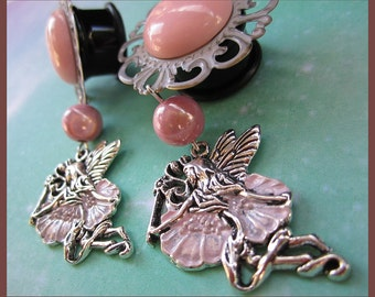 "The Pink Fairy dangle stretched earrings EAR PLUGS pick gauges- 2, 0, 00g, 7/16, 1/2, 9/16, 5/8, 11/16"" aka 6, 8, 10, 12, 14, 16, 18mm"