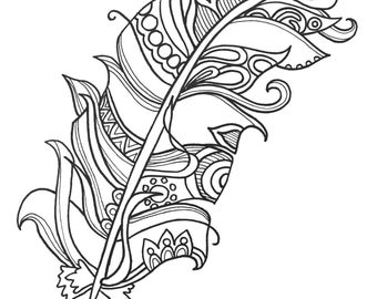 10 fun and funky feather coloringpages original art coloring book for adultscoloring therapy - Art Therapy Coloring Pages