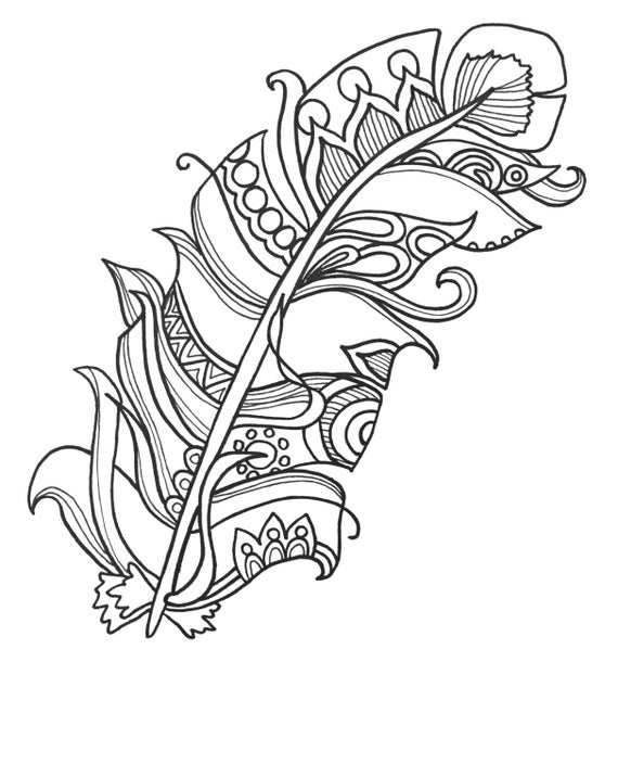 10 fun and funky feather coloringpages original art coloring for Funny coloring pages for adults