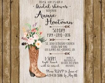 Cowgirl Rustic Boho Boot Watercolor Floral Farm Girl Bridal Shower Invite Invitation Wedding Shower Digital Invites