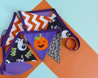 Halloween decoration bunting - Halloween garland - Halloween party decor - Pumpkin bunting - Halloween wall hanging - Jack O Lantern