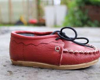 Soviet Kids Shoes Vintage Red Leather Loafers, New Old Stock Vintage Russian Kids Shoes. Made in USSR Kids Shoes. Collectible