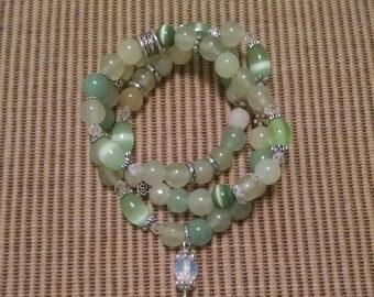 3 in 1 Green Beaded Elastic Bracelet Anklet Necklace