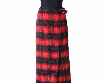 Vintage Black Red Plaid Fluffy Pencil Skirt  Wraparound Maxi Skirt Medium Size