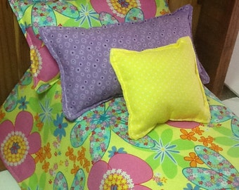 Doll Bedding, yellow with colorful flower print, 18 inch doll size,  cotton comforter set with 3 pillows, little girl gift