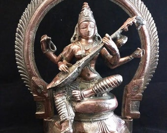 Large Bronze Saraswati Goddess Statue Buddha Hindu Knowledge Music Arts Wisdom Lotus  Rare Museum Quality Cast