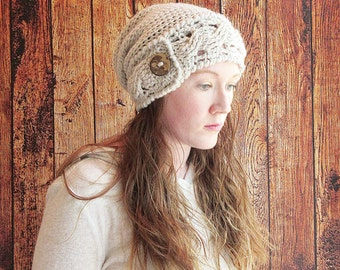 Slouchy Cable Brim Crochet Hat, Cable Slouch Hat, Women's Slouchy Hat