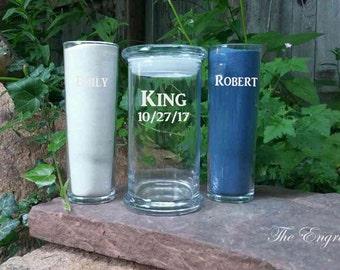 Unity Sand Set / Personalized Sand Ceremony Set / Engraved / Custom Etched Wedding Unity Ceremony / 48 Designs