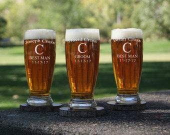 Personalized Pilsner Beer Glasses  / Etched Glasses / Engraved Glass / Custom / Groomsman Gift / Best Man Gift / Wedding Favor / 16 Designs!
