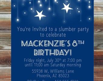 Slumber Party Stars Birthday Invitation - Digital Custom Sleepover Birthday Party Invitation - Star Theme Birthday Sleepover Party Invite