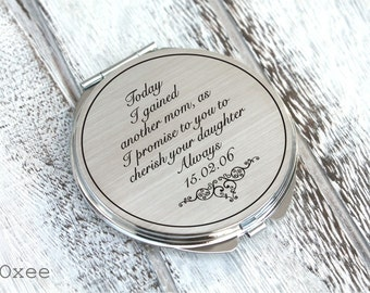 Personalized engraved pocket mirror | compact mirror | wedding gift | mother of the bride gift from groom | i will love your daughter