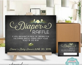 """Diaper Raffle Sign & Card """"Sweet Floral, Diaper"""" (Printable File Only) 8""""x10"""" Pink Blue or Yellow Chalkboard Style Shower Game Bring Diapers"""