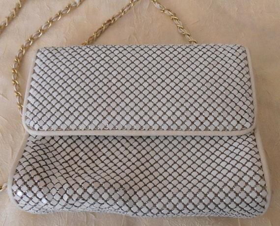 Vintage White Metal Mesh Shoulder Bag by Whiting and Davis