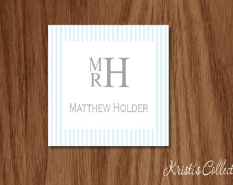 Seersucker Calling Cards Gift Tags Stickers, Personalized Boys Babies Stacked Monogrammed Gift Inserts Enclosure Cards, A Gift From Cards