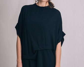Black viscose dress / Black open back dress / Tie dress / Oversized black dress / Casual black dress / Fasada 1603