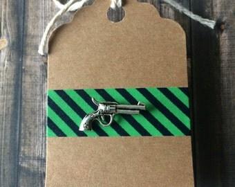 Gun Lapel Pin / Tie Tack - Silver Tone - Wild West