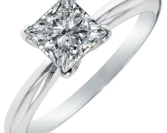 1.5 CT Princess Cut AAAAA CZ Solitaire Engagement Wedding Ring White 925 Silver