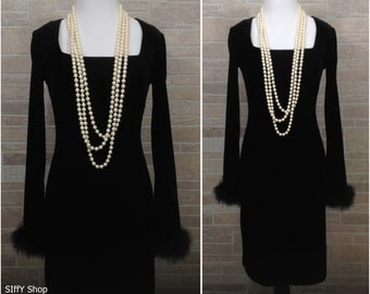Short black velvet dress with long sleeves and black feathery cuffs - Small